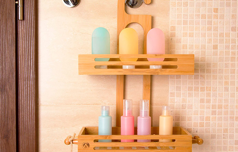 porta shampoo de madeira