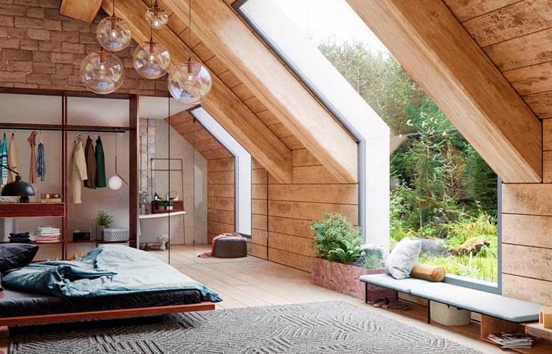 Quarto rústico com janelas grandes, parede de madeira e pedra, lustres de vidro redondo, cama de casal e tapete cinza