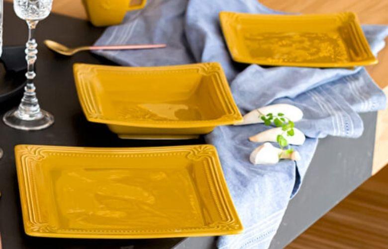 Prato Quadrado Amarelo   westwing.com.br