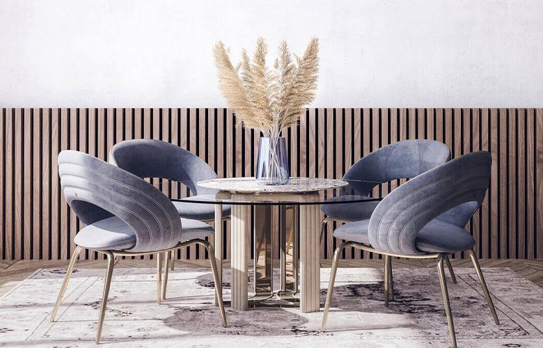 sala de jantar com conjunto de mesa e cadeira modernas