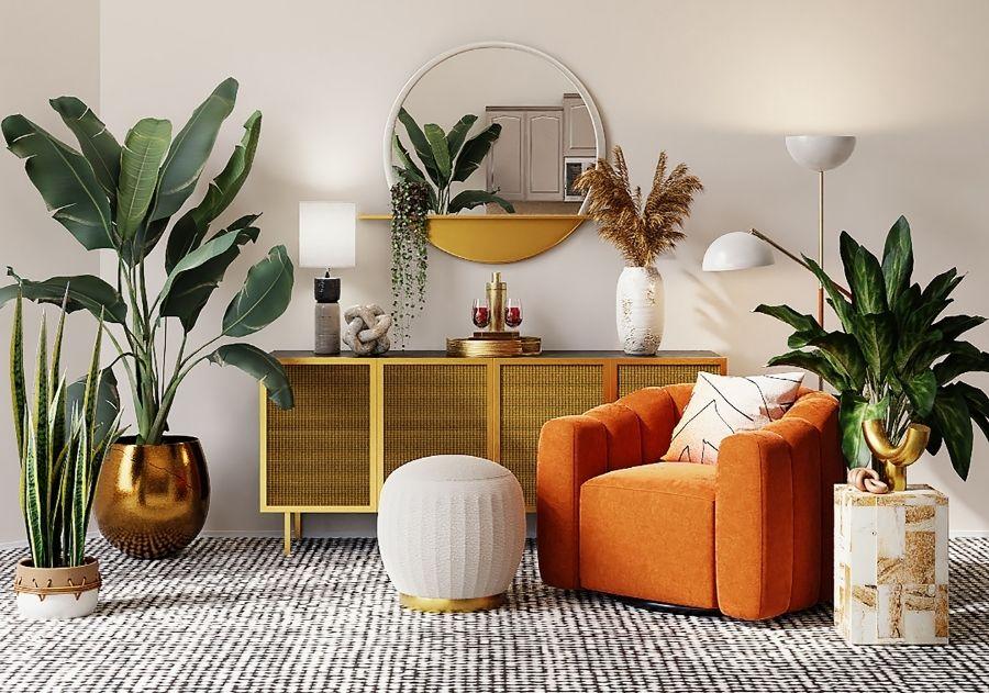 poltrona laranja com almofada na sala tropical