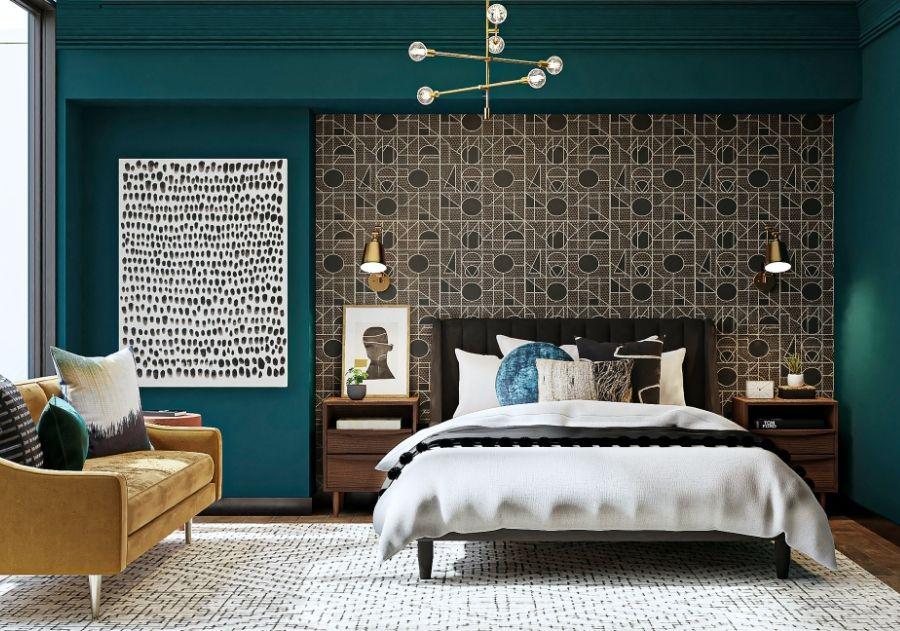 quarto moderno decorado com almofadas coloridas em tons escuros