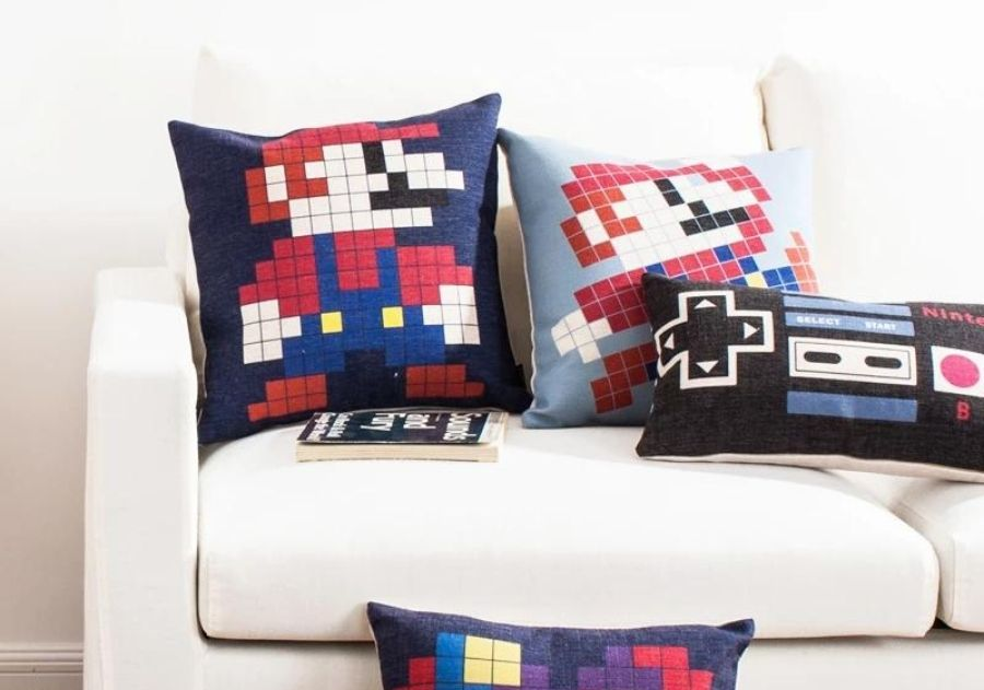 almofada super mario divertida para sofá branco