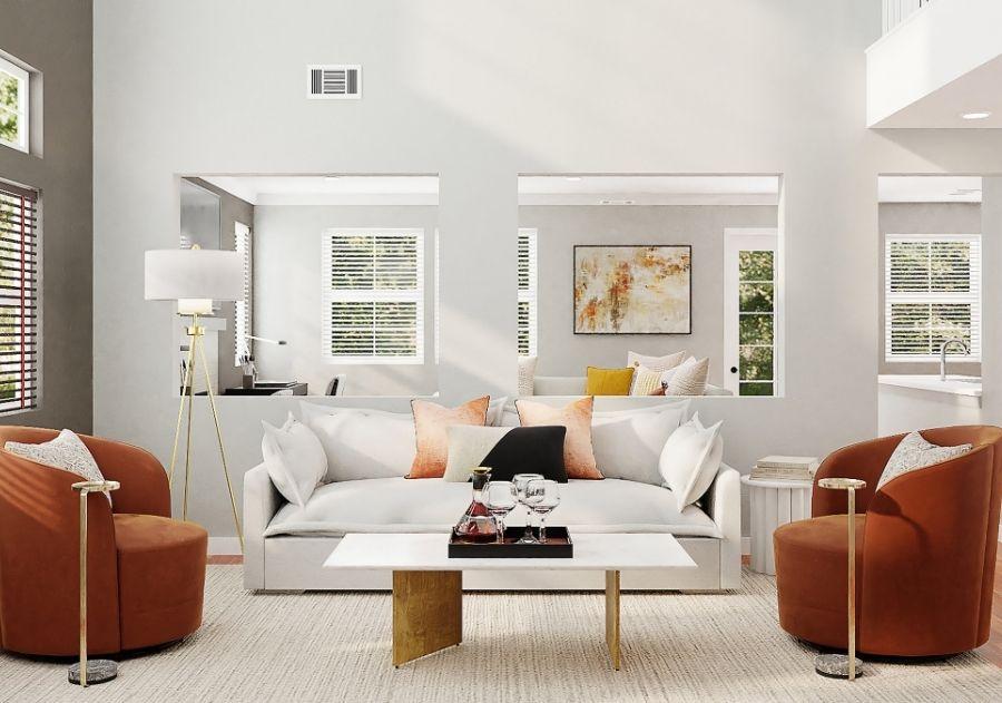 decoração de almofadas na sala sobre o sofá branco e sobre poltronas modernas