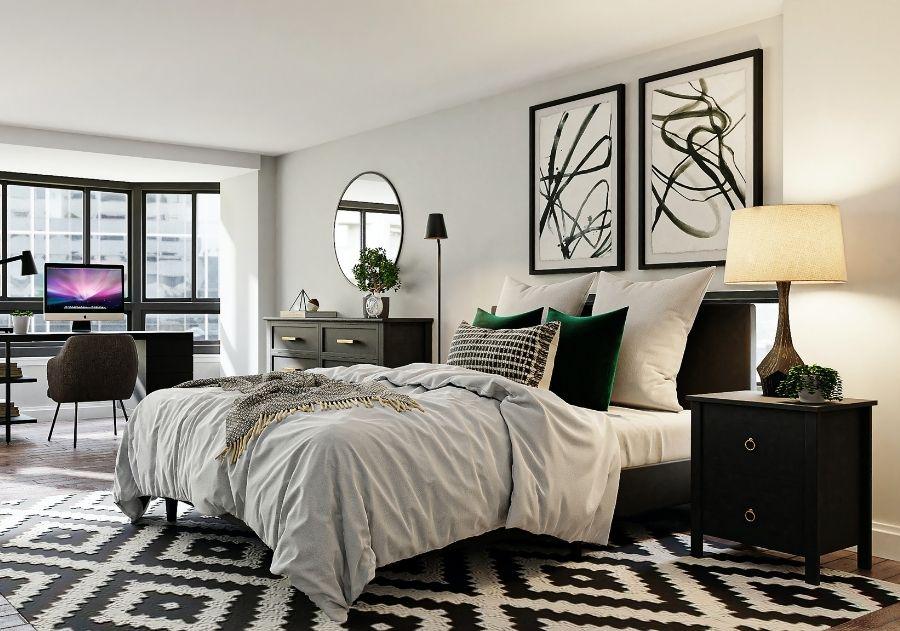quarto moderno decorado com almofadas coloridas sobre a cama