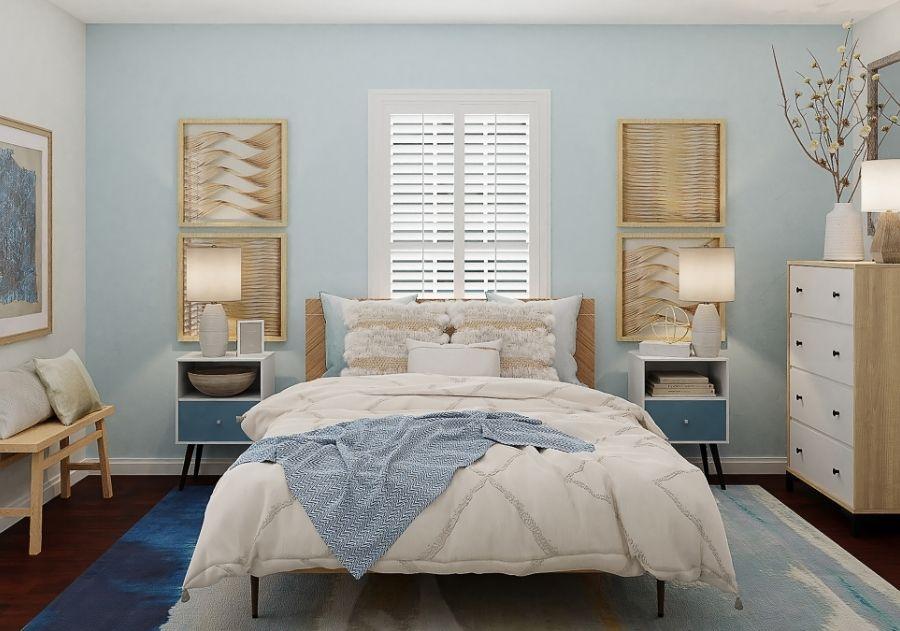 almofadas na cama do quarto boho