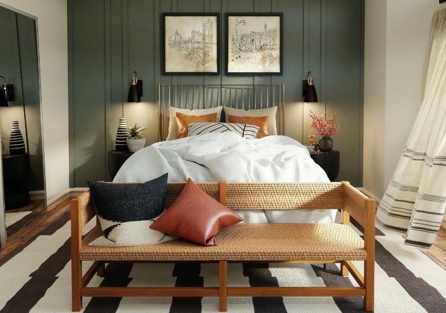 quarto moderno aconchegante decorado com almofadas sobre a cama