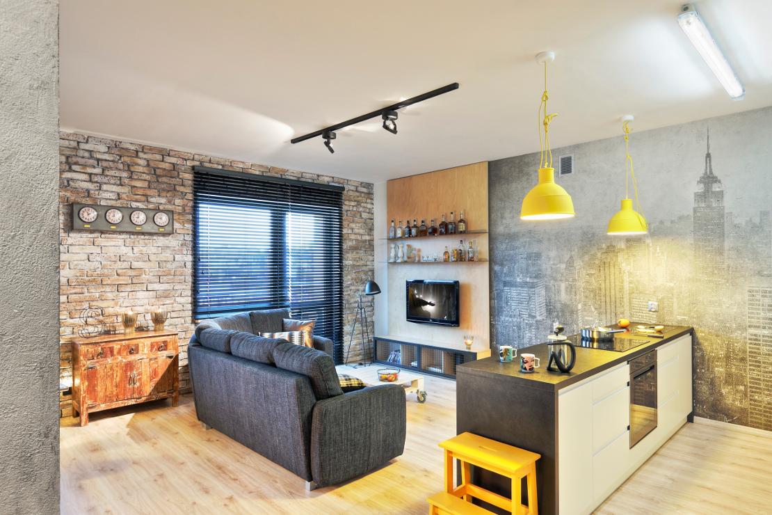 Espaço integrado, mostra cozinha e living em mesmo ambiente