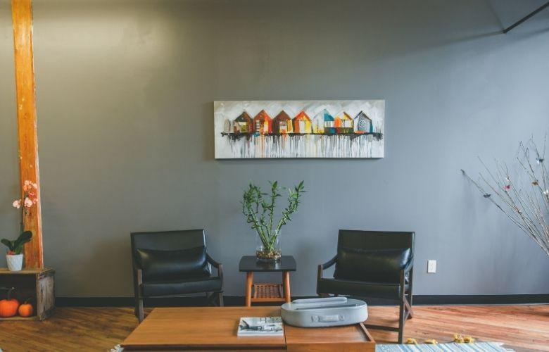 quadros decorativos estilo industrial para decoração de sala de estar, poltrona de couro