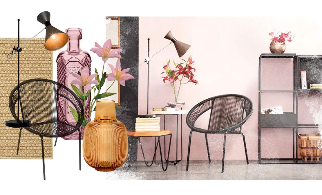 Ambiente seguindo a tendência Japandi com cadeiras, luminárias, vasos, estante e flores | westwing.com.br