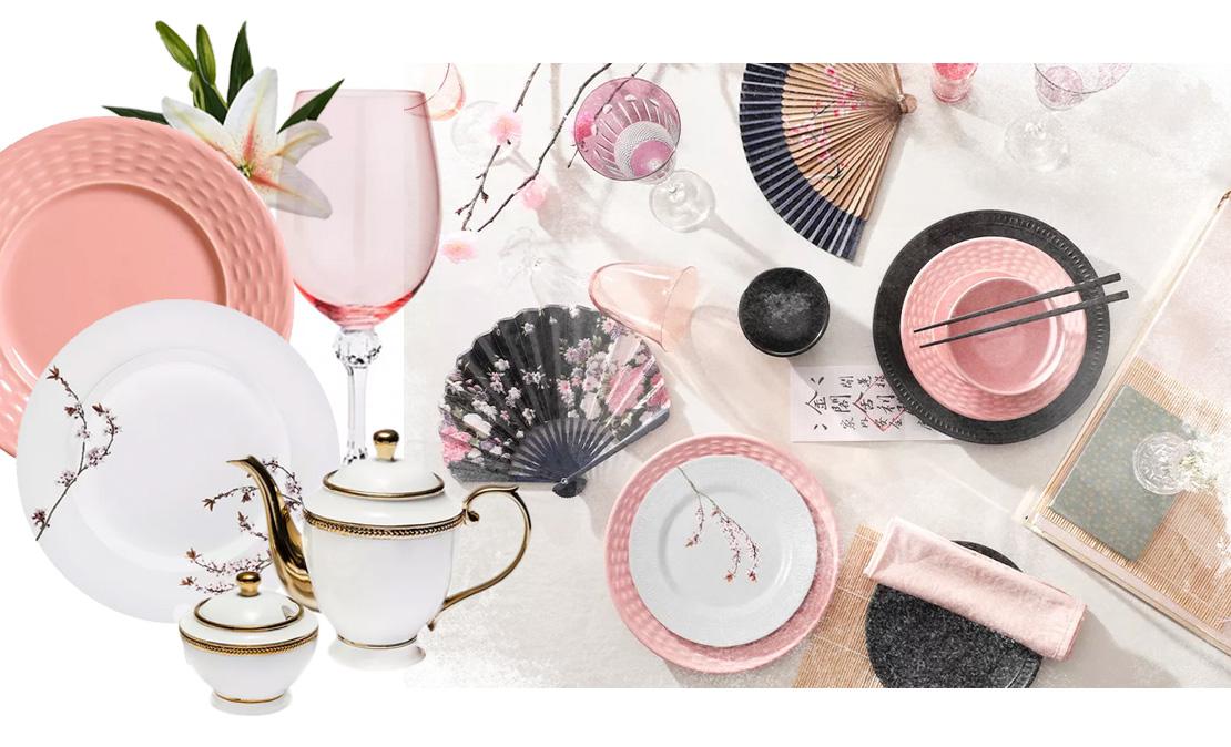 Mesa posta seguindo a tendência Japandi em tons rosa, cinza e branco | westwing.com.br
