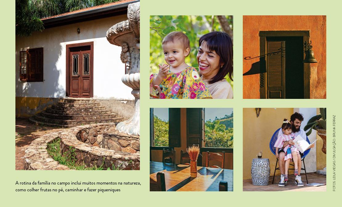 Mural de fotos: ao lado esquerdo, a entrada da casa da fazenda, ao meio Barbara com a filha caçula, à esquerda Bruno lê para a filha Teresa sentado em uma cadeira acapulco