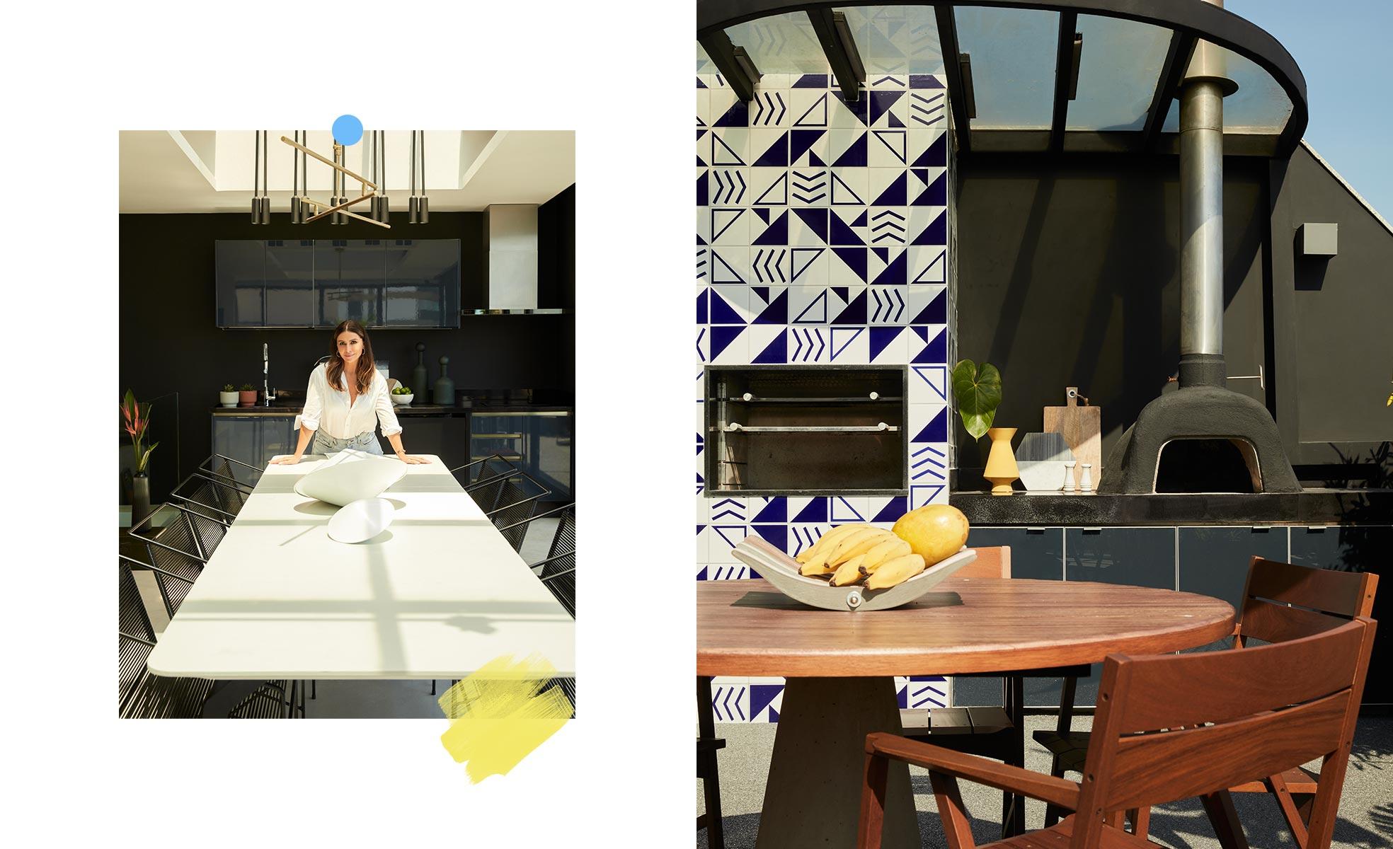 Mesa de jantar e churrasqueira revestida com azulejos geométricos | westwing.com.br