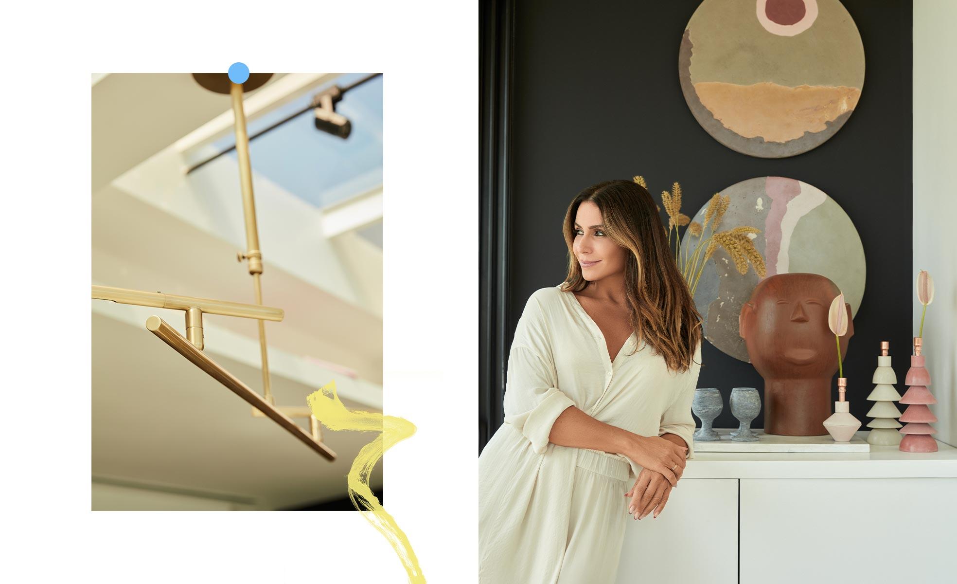Lustre La Lamp e Giovanna em seu novo cantinho, com artesanatos e castiçais | westwing.com.br