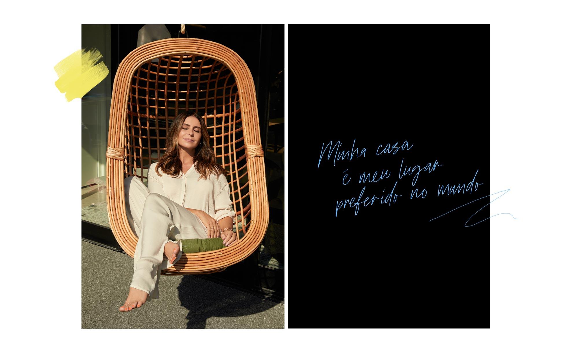 Giovanna Antonelli em sua cadeira suspensa no terraço | westwing.com.br