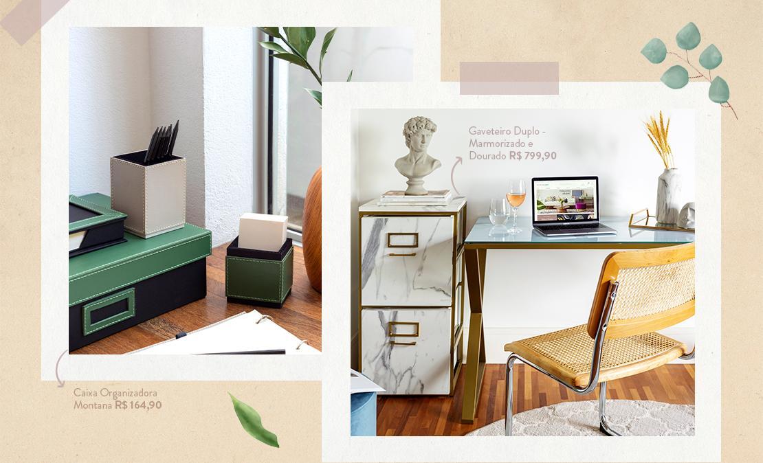 Casa organizada passo 5 - imagem com gaveteiros e caixa organizadora: para ajudar na organização da rotina e também manter tudo bem organizado.