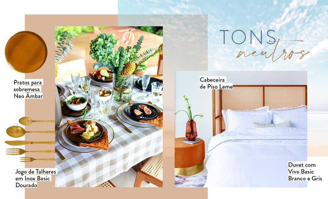 tons neutros, mesa posta, roupa de cama branca | westwing.com.br