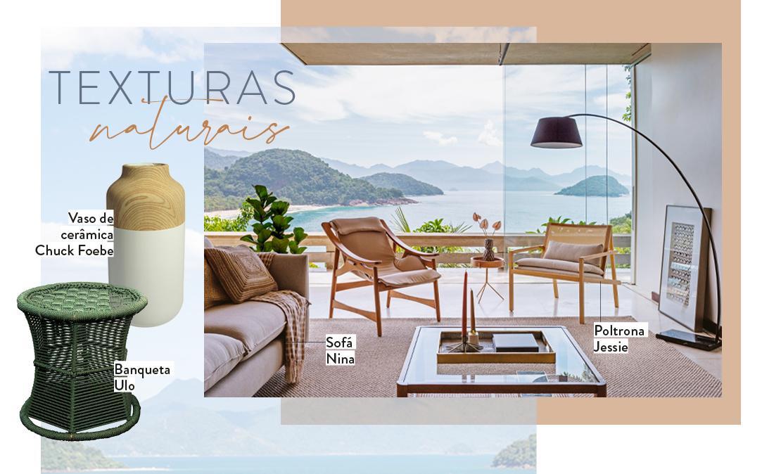 texturas naturais, sala de estar, sofá, poltronas, vaso de cerâmica e banqueta | westwing.com.br