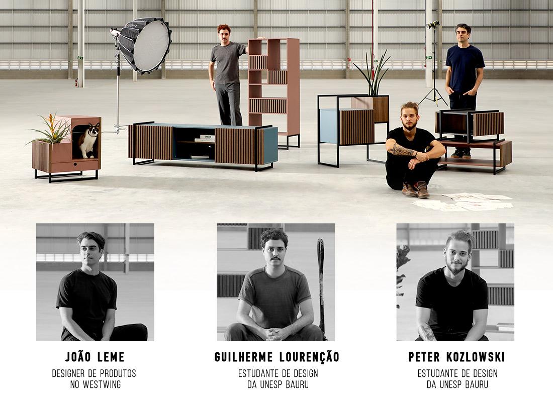 Peças da Coleção Inno (estante, mesa de centro, rack e mesa lateral) com designers responsáveis