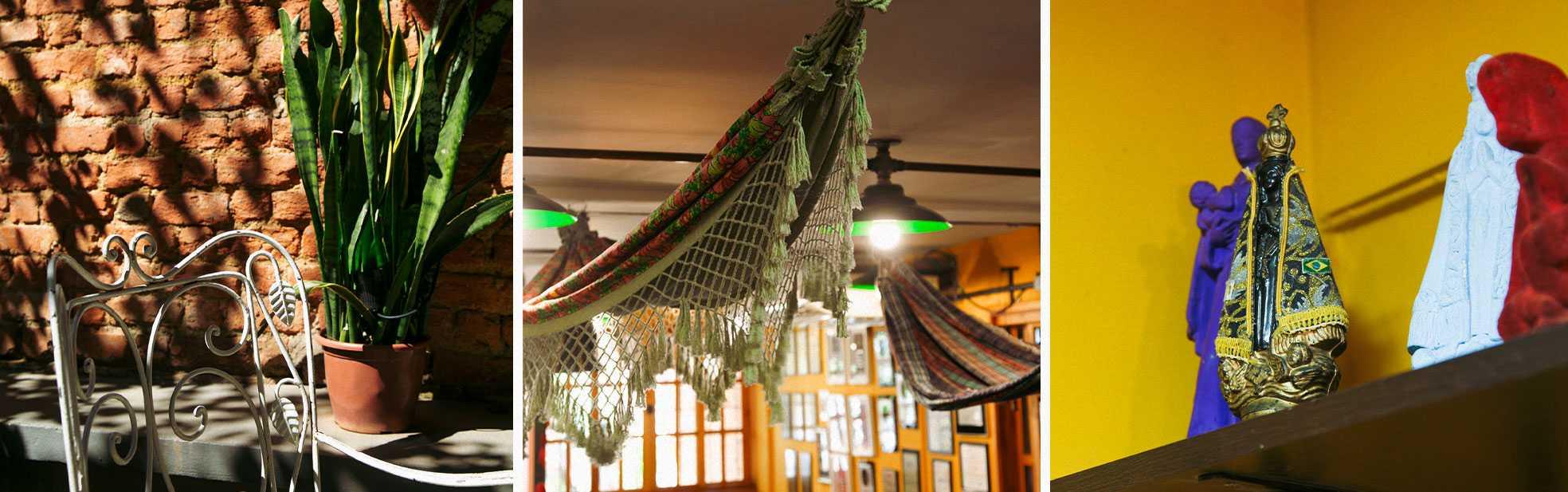 Detalhes da decoração do restaurante Aconchego carioca, com redes de balanço, santos e um jardim/ westwing.com.br
