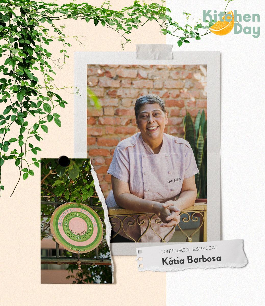 Chef Kátia Barbosa veste seu avental de cozinha e sorri/ westwing. com.br