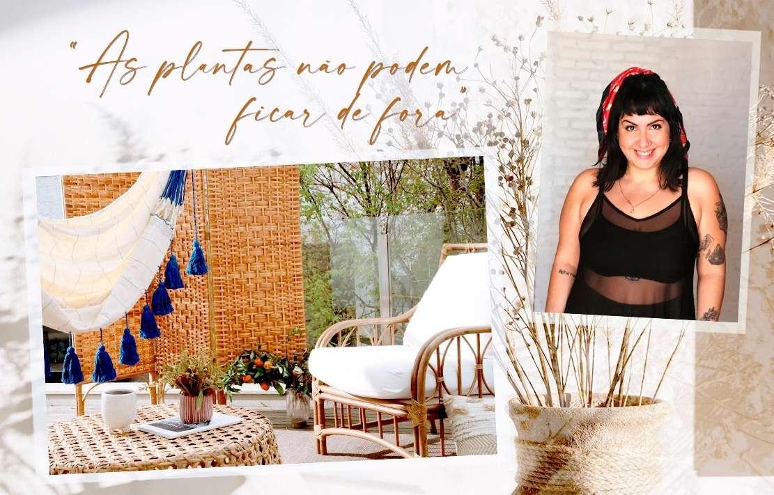 decoração de varanda com plantas e móveis de fibra natural