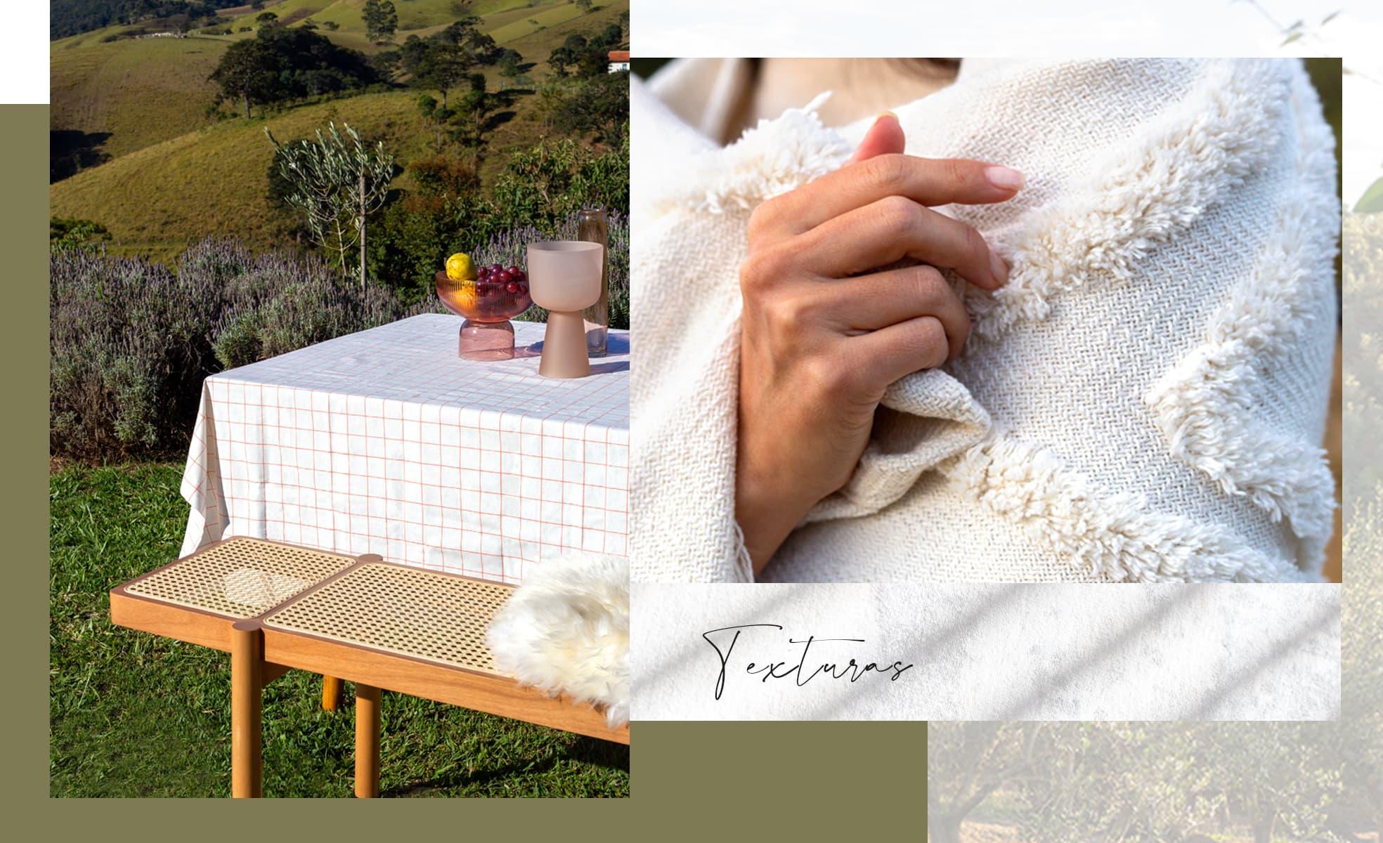 Montagem com detalhe da textura de tecidos