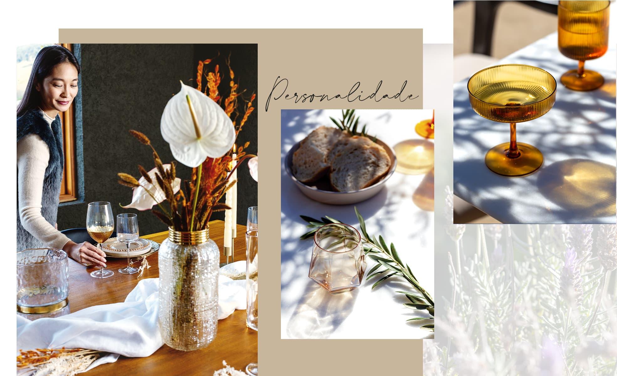 Imagens de mesa posta com itens de vidro